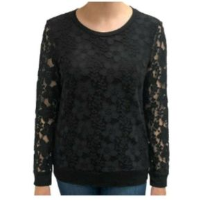 Adrianna Papell Floral Lace Shear Sleeves Blouse